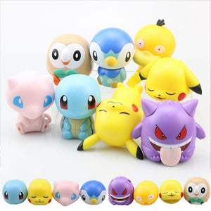 8 Pcs Pokemon Pikachu Squirtle Gengar Mew Psyduck Rowlet Action FiguresToys Gifts