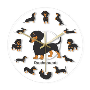 Cartoon Dachshund Wiener Dog Arcylic Wall Clock