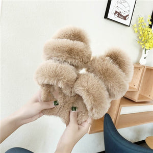 Furry Fur Women Warm Indoor Slippers Shoes