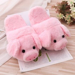 Cute Pink Pig Plush Indoor Warm Stuffed Shoes & Pillow
