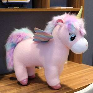 Giant Unicorn Glowing Wings Fluffy Hair Plush Stuffed Toy Doll