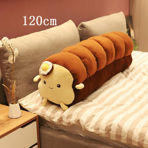Cute Toast Sliced Bread and Long Bread with Poached egg Plush Stuffed Cushion Pillow Doll