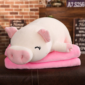 Lovely Pink Pig Down Soft Plush Cotton Stuffed Doll Pillow