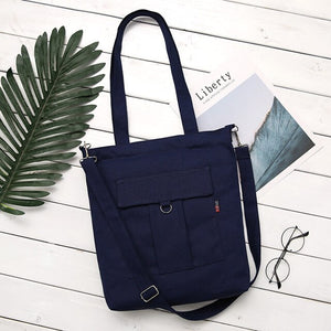Simple Solid Color Cotton Canvas Tote Shouder Bag Handbag