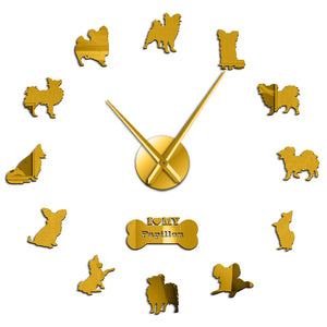 Continental Toy Spaniel Papillon Dog Large Frameless DIY Wall Clock