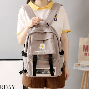 White Daisy Flower Oxford Cloth Waterproof School Bag Backpack for Teenage Girls