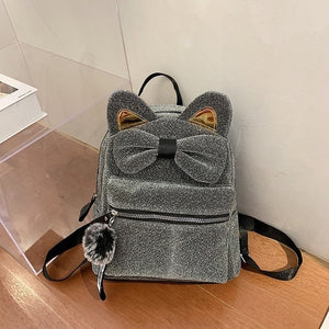 Cute Cat Ears Bowknot School Bags for Teenage Girls