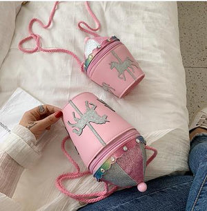 Cute Pink Unicorn Carousel Bucket Leather Purse Handbag