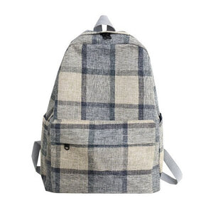 Vintage Plaid Canvas Student College Backpack for Teenage