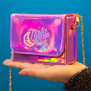 Laser Holograms Embroidery Moon Night Mini Purse Shoulder Bag