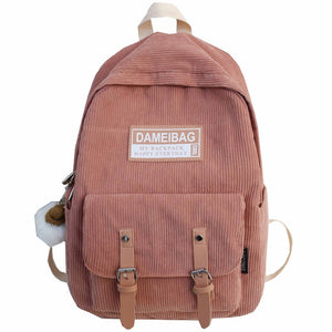 Cute Luxury Corduroy Stripe Backpack School Bag for Teenage Girl