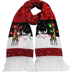Christmas LED Light Glowing Tassel Knit Scarf Gifts
