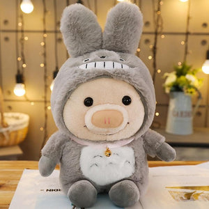 Cute Piggy Hoodie Turned Animal Plush Stuffed Doll Toy