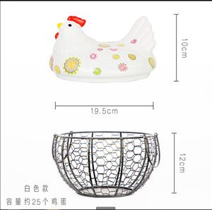 Ceramic Chicken Hen Iron Egg Snack Fruit Storage Basket Kitchen Decoration