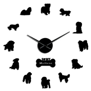 Maltese Large Frameless DIY Wall Clock Dog Owners Gift