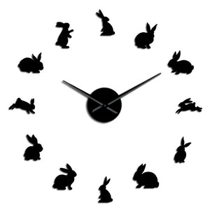 Easter Bunny Rabbits Large Frameless DIY Wall Clock