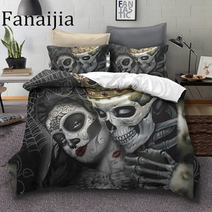 King & Queen Sugar Skull Beaut Kiss Duvet Cover Bedding Set