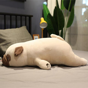 Giant Cartoon Pug Dog Lying Plush Stuffed Doll Sleep Pillow Gift