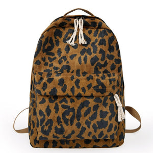 Brown Leopard Print Corduroy Dual Straps Backpack School Bag
