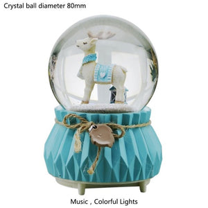Vintage Mint Snowflake Crystal Ball Music Box Home Decor