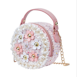 Flower Princess Perl Girls Shoulder Bags