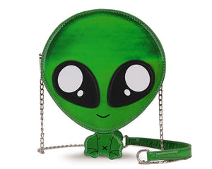 Cute Outer Space Alien Laser PU Leather Purse Shoulder Bag