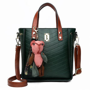 Vintage Rivet Women Handbag Shoulder Bag with Cute Bear Keychain