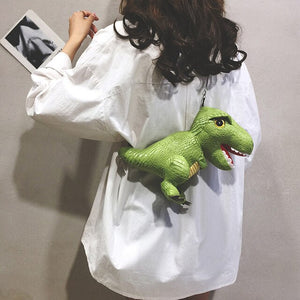 Angry Dinosaur Doll Leather Shoulder Bag