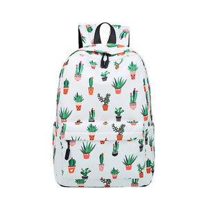 Cactus Printing Waterproof Nylon Lightweight School Backpack