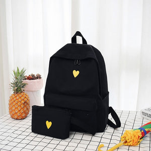 Mini Heart Print Minimal 15 Inch Canvas Backpack School Bag with Pouch
