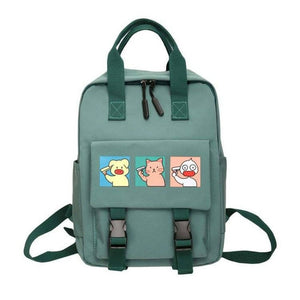 Cute Pig Cat Duck 3 Frame Cartoon Waterproof Nylon Backpacks Shool Bag for Teenage Girl