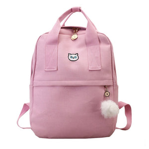 Cute Embroidery Cat Crown Canvas Preppy Backpack School Bag