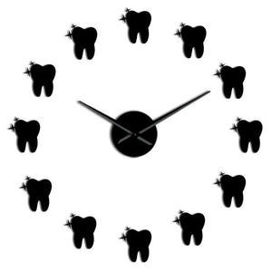 Wall Clocks - 12 Teeth  Dental Tooth Large Frameless DIY Wall Clock Dentist Gift