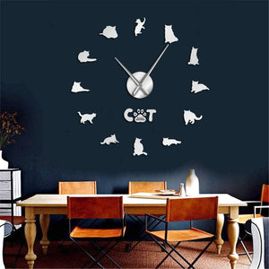 Wall Clocks - British Shorthair Cat Large Frameless DIY Wall Clock