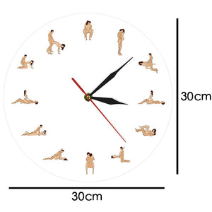 Wall Clocks - Cartoon Erotic Sex Positions Large Frameless DIY Wall Clock Gift For Couple