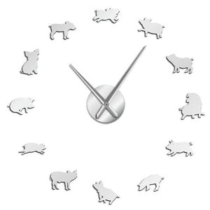Cute Baby Pig Piglet Large Frameless DIY Wall Clock