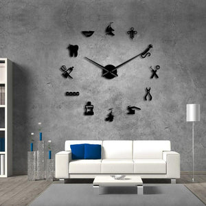 Wall Clocks - Dental Instrument Large Frameless DIY Wall Clock Dentist Office Decor Gift