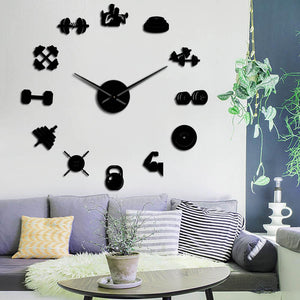 Wall Clocks - Dumbbell Gym Equipment Large Frameless DIY Wall Clock Workout Trainers Gift