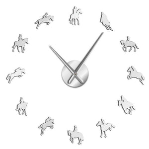 Wall Clocks - Equestrian Horse Race Riding Large Frameless DIY Wall Clock Gift