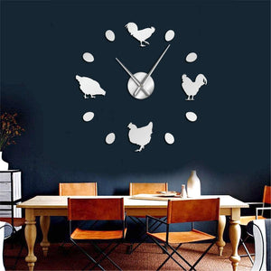 Farm Chicken And Eggs Large Frameless DIY Wall Clock