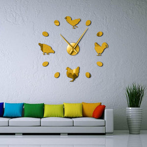 Wall Clocks - Farm Chicken And Eggs Large Frameless DIY Wall Clock