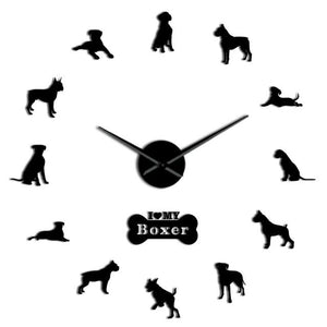 Wall Clocks - German Boxer Dog Large Frameless DIY Wall Clock