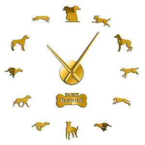 Wall Clocks - Greyhound Adoption Whippet Large Frameless DIY Wall Clock Dog Lovers Gift