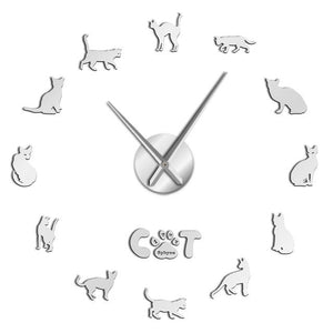 Wall Clocks - Hairless Sphynx Cat Large Frameless DIY Wall Clock Gift