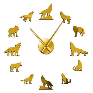 Wall Clocks - Howling Wolves Large Frameless DIY Wall Clock Wolf Lover Gift