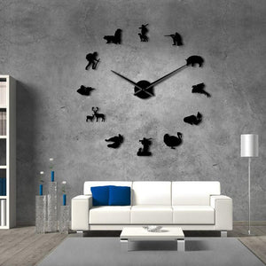 Wall Clocks - Hunting Large Frameless DIY Wall Clock Gift For Hunter