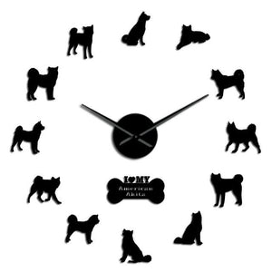 I Love My American Akita Dog Lovers Large Frameless DIY Wall Clock