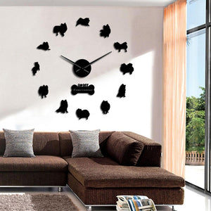 Wall Clocks - I Love My Pomeranian Large Frameless DIY Wall Clock Dog Lover Gift