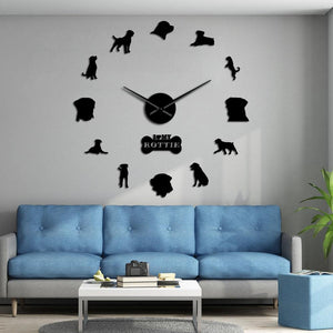 Wall Clocks - I Love My Rottie Large Frameless DIY Wall Clock Home Decor Gift