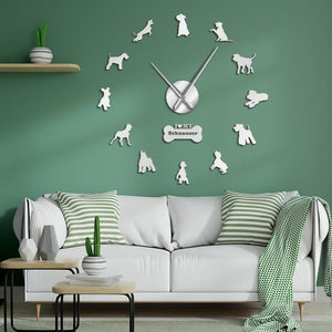 Wall Clocks - I Love My Schnauzer Dog Large Frameless DIY Wall Clock Gifts